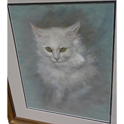 "Cat art fine pastel drawing of white cat ""Avalanche"" signed Pat Forrester"