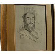 PAUL-ALBERT BESNARD (1849-1934) scarce lithograph self-portrait of the artist dated 1893