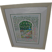 JOHN BOTZ (20th century American) large colorful post impressionist limited edition hand signed print of a flower garden by noted artist and designer
