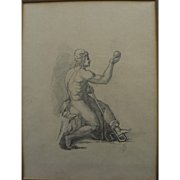 Nineteenth century initialed European pencil drawing of a classic male figure