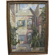 New Orleans art small signed painting of famous French Quarter courtyard