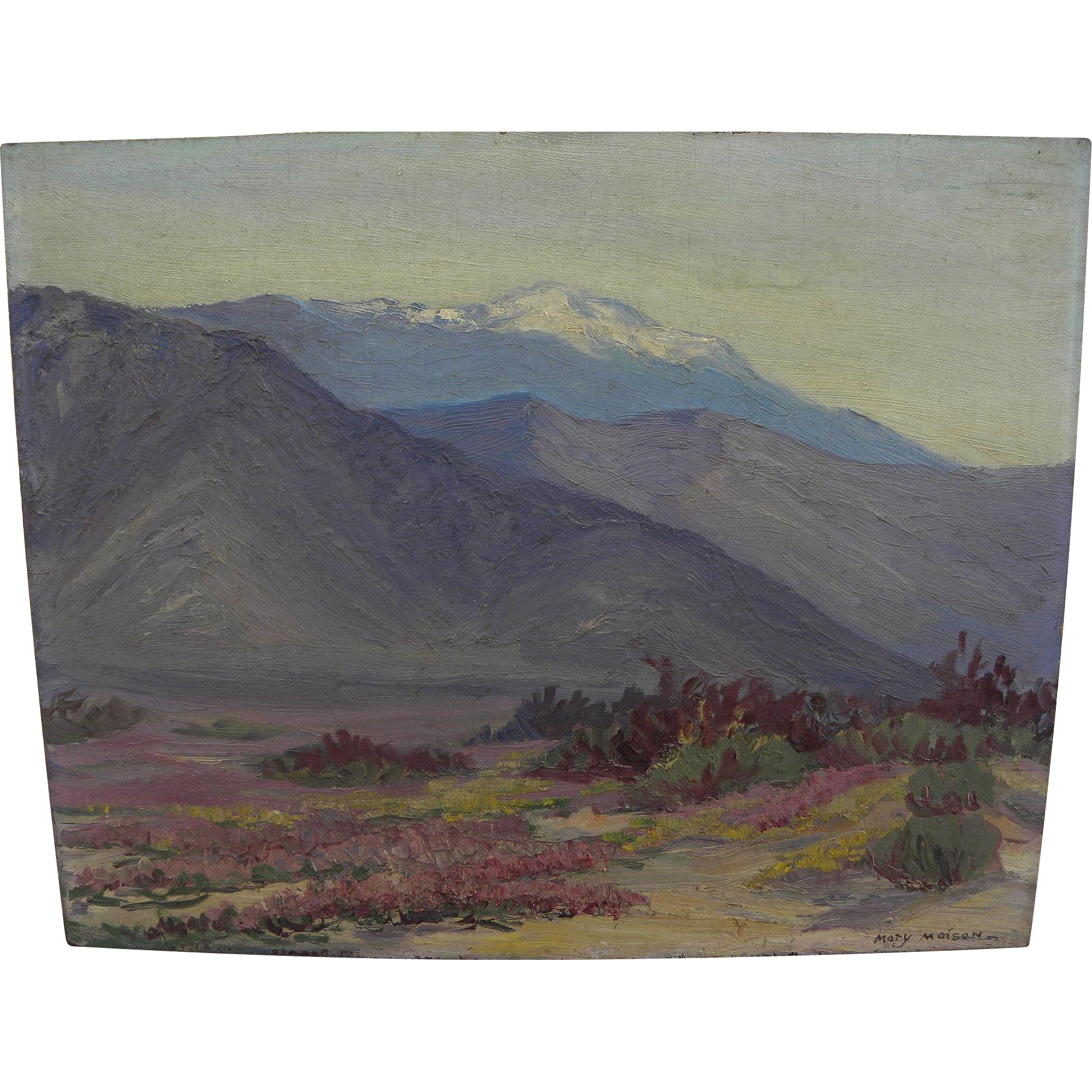 MARY MAISON (1886-1954) vintage California plein air art painting of high mountain and desert in spring