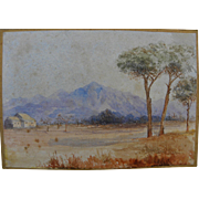 Antique watercolor painting arid landscape with high mountain