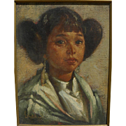 LYLE TAYSON SR. (1924-2014) Southwest contemporary art signed painting of Native American girl by master artist