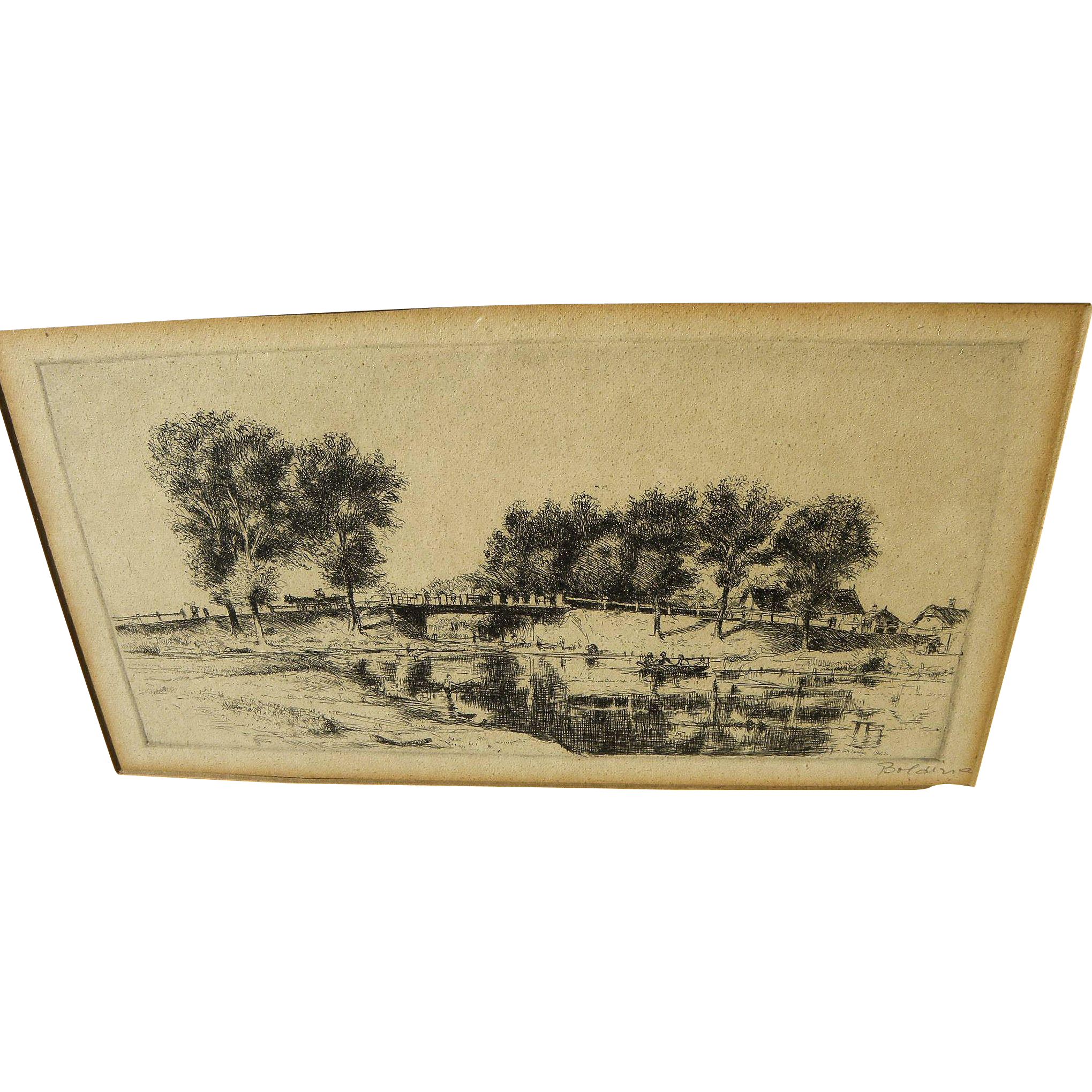 ISTVAN BOLDIZSAR (1897-1984) pencil signed landscape etching by Hungarian master artist