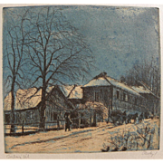 ISTVAN ELESDY (1912-1987) Hungarian art color etching of houses in winter