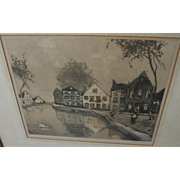 Vintage color etching of Low Countries houses pencil signed Van Gelden