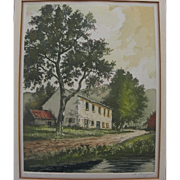 Vintage print of French country house by a pond pencil signed de Croisset