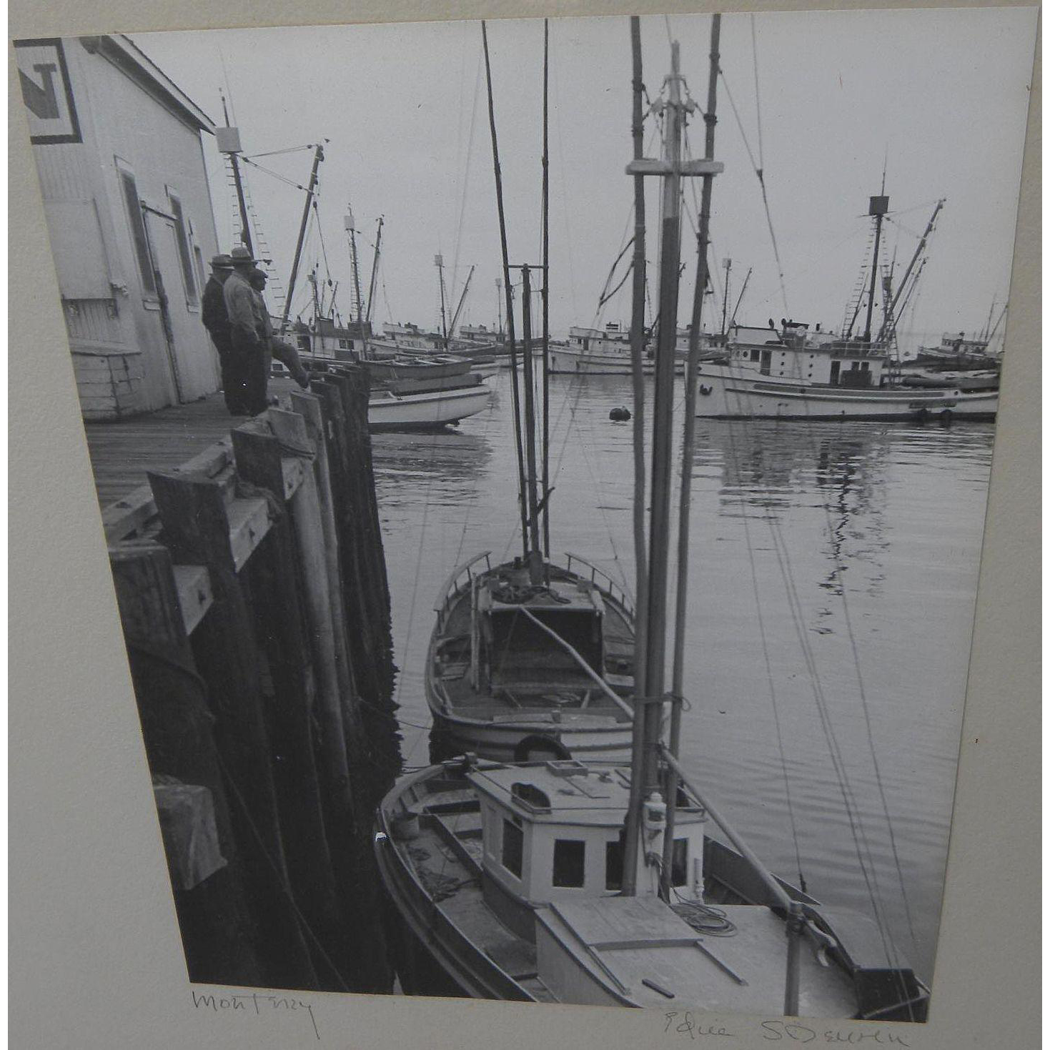 Circa 1950 black and white photograph of docks at Monterey California