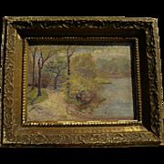 American impressionist vintage oil landscape painting