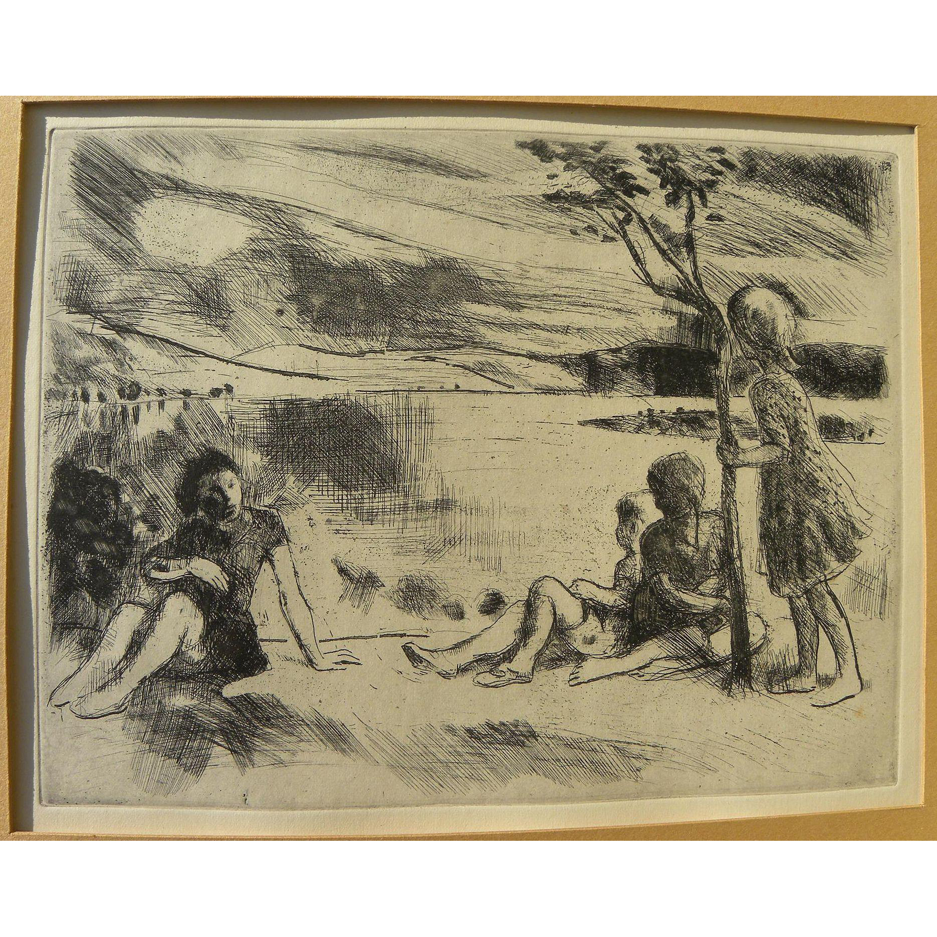ISTVAN SZONYI (1894-1960) Hungarian art limited edition etching by master artist