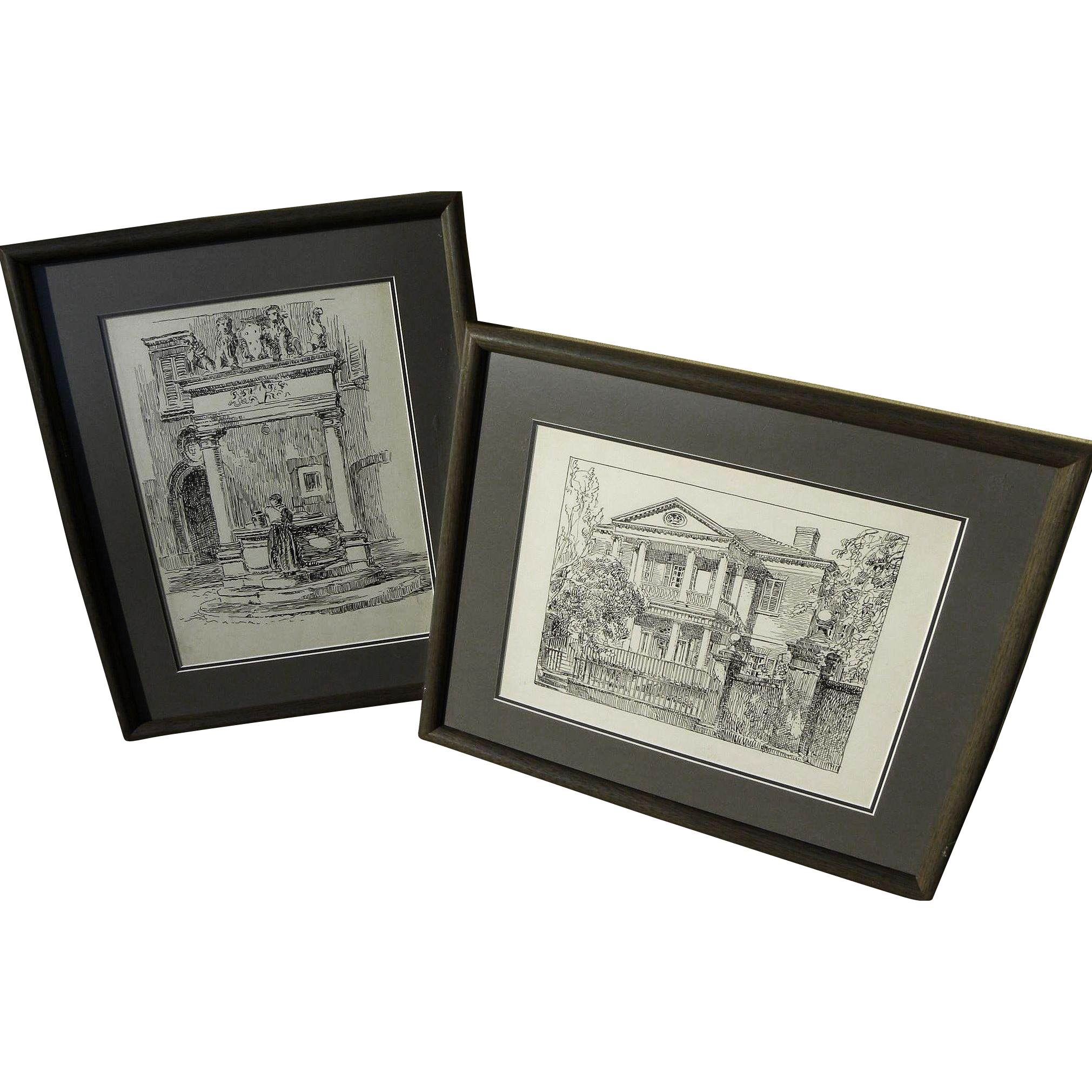 Pair of old ink drawings of gracious southern home and European fountain with figure