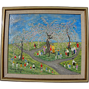 Naive painting of children in a spring landscape signed Wanda Webb 1971