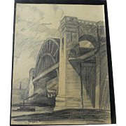 JOHN RICHARD MOORE (1925-2009) early pencil drawing of Hell Gate Bridge New York