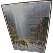 G. HARVEY (GERALD HARVEY JONES, 1933-) signed and numbered limited edition 1989 print Wall Street, New York