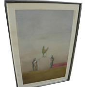 "Signed contemporary watercolor drawing ""The Entrance"" dated 1972"