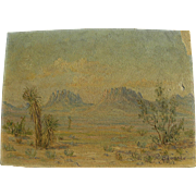 Old Southwest desert impressionist landscape painting signed M. Edwards