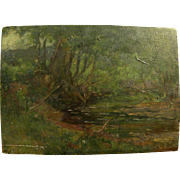 Circa 1900 French impressionist oil painting of a forest stream in Barbizon tradition