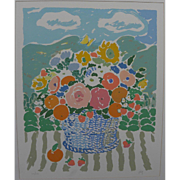 JOHN BOTZ (20th century American) large colorful limited edition hand signed print of flowers by noted post impressionist artist and designer