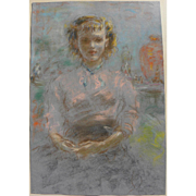 Fine pastel drawing of a seated young woman