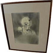 Signed contemporary pencil drawing of a man