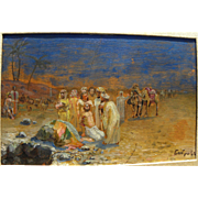 Antique Russian Orientalist or biblical scene painting signed BOBROV