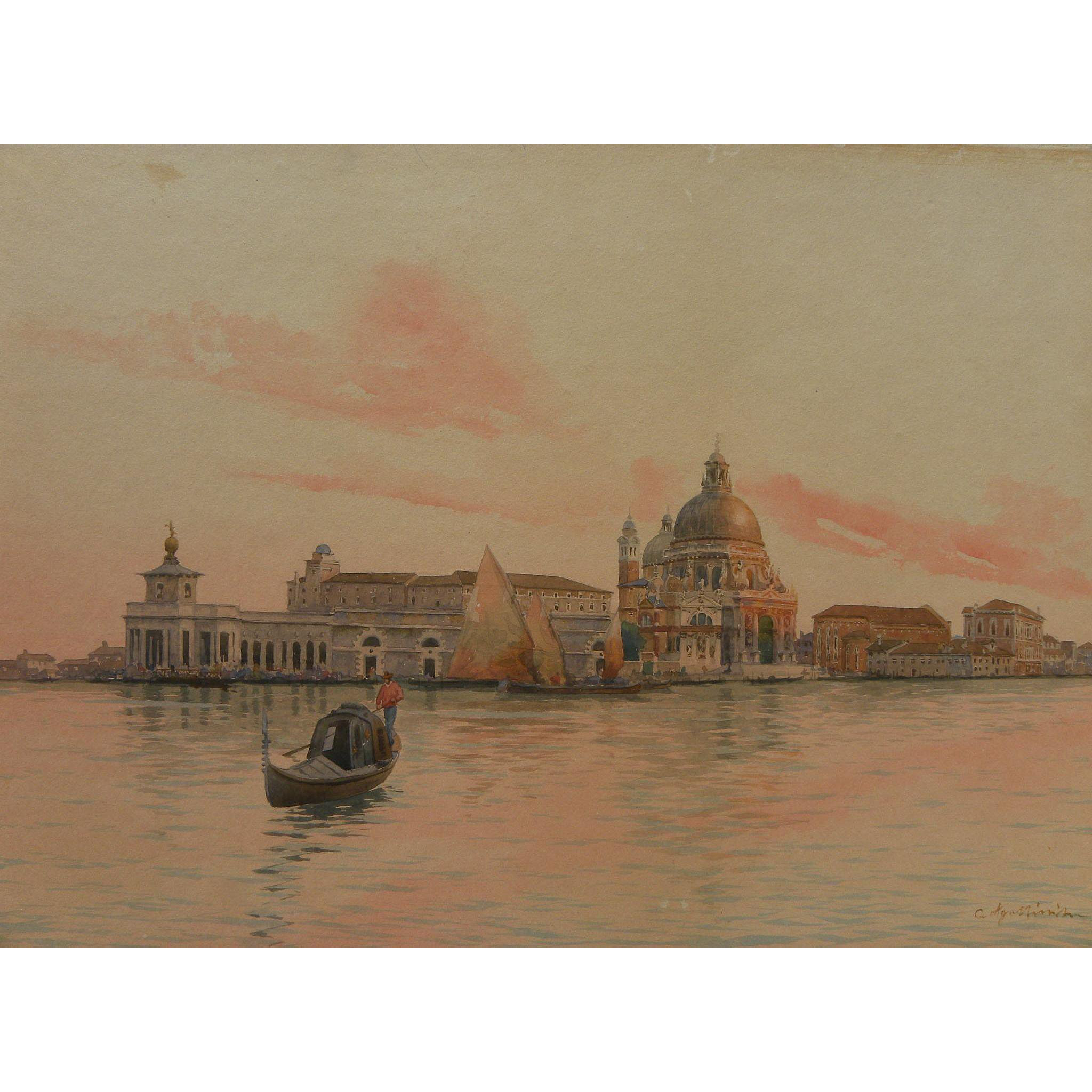 GUIDO AGOSTINI (1870-1898) Italian 19th century detailed watercolor painting of Venice and the lagoon