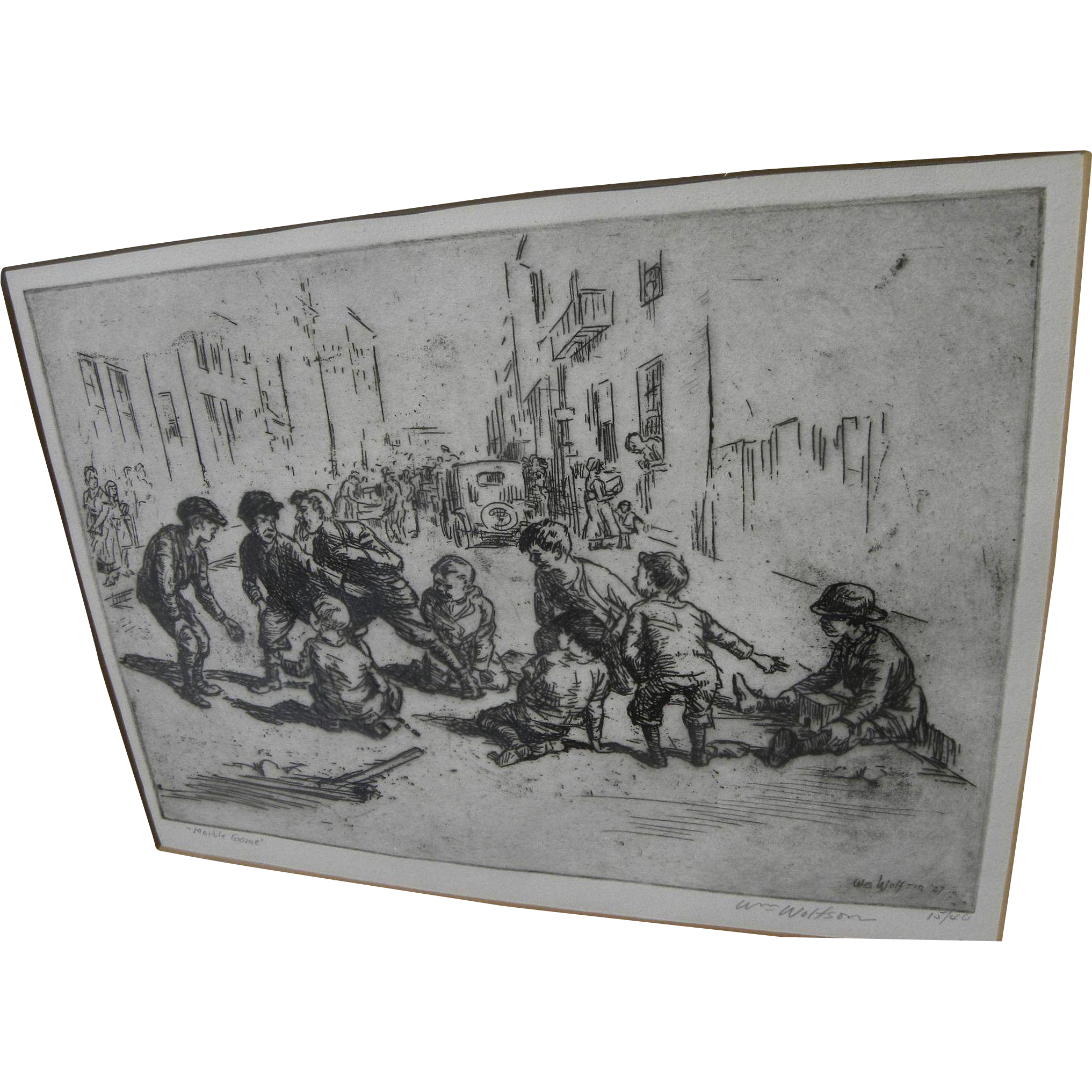 "WILLIAM WOLFSON (1894-1966) pencil signed limited edition 1927 etching ""Marble Game"" by Ashcan School artist"