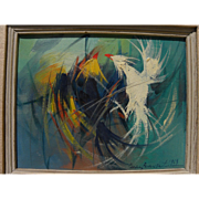 CESAR BUENAVENTURA (1922-1983) Filipino art expressionist oil painting of a cockfight