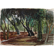 Watercolor painting of trees in a landscape