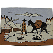 Southwest art small mid century painting of Navajo and horse on the reservation in winter