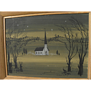 Peaceful vintage watercolor painting of a white church in an open landscape at night