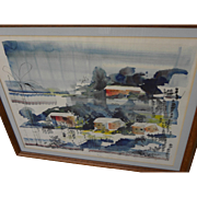 ALFRED BIRDSEY (1912-1996) Bermuda art original watercolor landscape painting