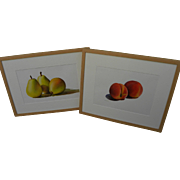 GRACE SWANSON (20th century California) contemporary **PAIR** of realistic watercolor paintings of fruit