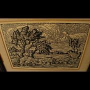 """LEO E. REIN (1908-) Kansas art linoleum cut print """"Oaks beside water"""" by student of Birger Sandzen"""