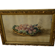 Watercolor still life painting of raspberries in a basket signed and dated 1895
