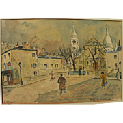 Charming signed mid-century Paris Montmartre watercolor painting inspired by Utrillo