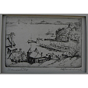 "HARRIET GENE ROUDEBUSH (1908-1998) pencil signed etching ""Sausalito"" by listed San Francisco artist"