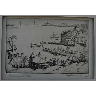 """HARRIET GENE ROUDEBUSH (1908-1998) pencil signed etching """"Sausalito"""" by listed San Francisco artist"""