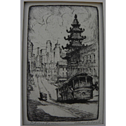 "HARRIET GENE ROUDEBUSH (1908-1998) pencil signed etching ""Chinatown"" by listed San Francisco artist"