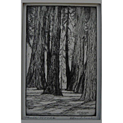 "HARRIET GENE ROUDEBUSH (1908-1998) pencil signed etching ""Muir Woods"" by listed San Francisco artist"