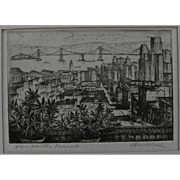 "HARRIET GENE ROUDEBUSH (1908-1998) pencil signed etching ""View from the Fairmount"" by listed San Francisco artist"