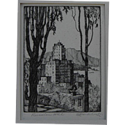"HARRIET GENE ROUDEBUSH (1908-1998) pencil signed etching ""Russian Hill"" by listed San Francisco artist"