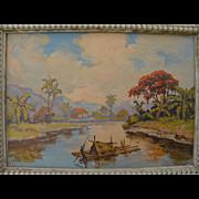 Impressionist signed vintage tropical landscape painting