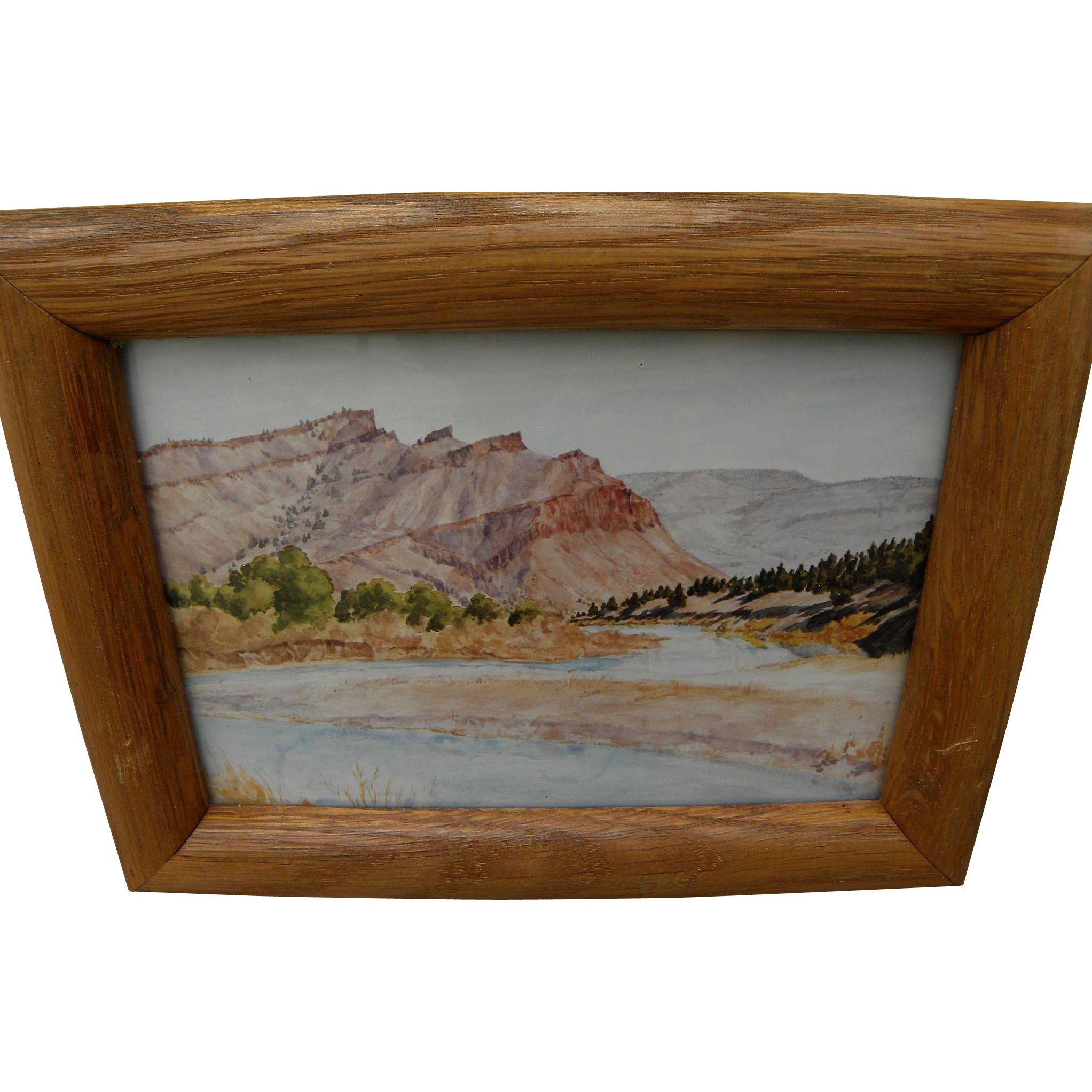 "Oregon art small Northwest watercolor painting ""John Day River at Black Rock"""