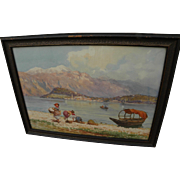 Italian art watercolor circa 1900 painting of Lake Como or Maggiore signed L. Vian