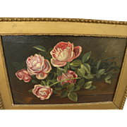 BRYANT CHAPIN (1859-1927) American art still life painting of roses on a table top by noted Fall River School artist