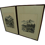 Chinese or Japanese art PAIR contemporary watercolor landscape paintings in traditional style