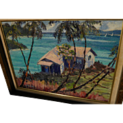 Colorful tropical coastal landscape painting signed Dickerson