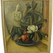 ELLA JACK (1890-1972) modernist painting of magnolia in still life arrangement by Kansas-born California artist